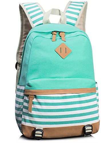 Leaper Cute Navy Style School Backpack Striped Canvas Bookbag Casual Travel Rucksack Water Blue