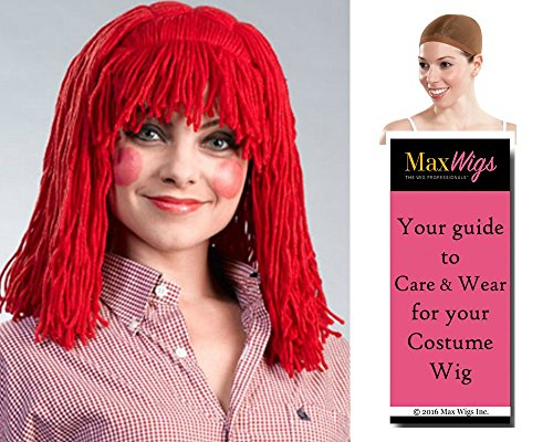 (Raggedy Anne Cleo - Enigma Wigs Thin Small Yarn Braids Ann Doll Bundle w/Cap, MaxWigs Costume Wig Care)