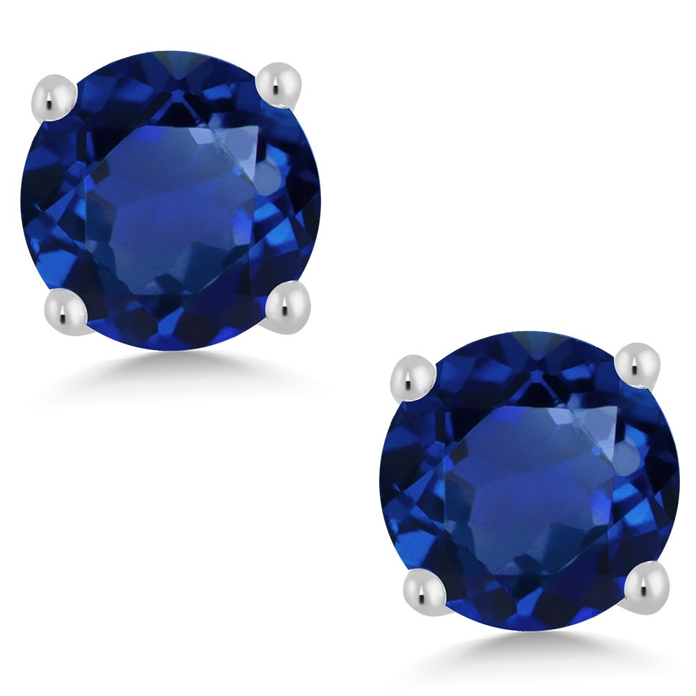 Gem Stone King 2.00 Ct 925 Silver Round Cut Simulated Blue Sapphire Stud Earrings 6MM