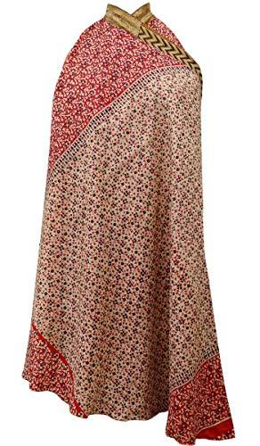 Indianbeautifulart Les Femmes Check Imprimer Pure Soie Vintage Saree rversible Rouge Wrap Summer Beach Dress Beige & Maroon