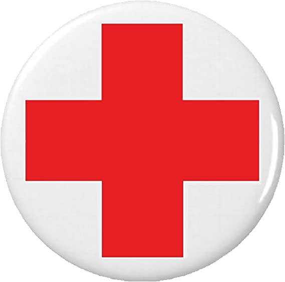Amazon Red White Cross Symbol Sign Button Pin Medical Alert