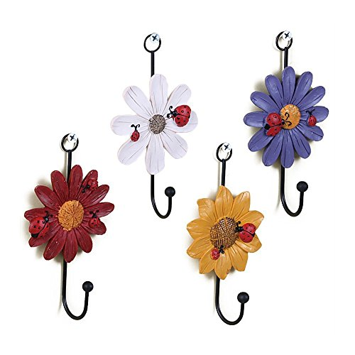 Creative Daisy Resin Wall Hooks Wall Mounted Art Flower Iron Hook Hand-painted Hanging Coat / Hat /Key/ Towel Hooks Home Decoration(Set of 4) (Resin Outdoor Wall Art)