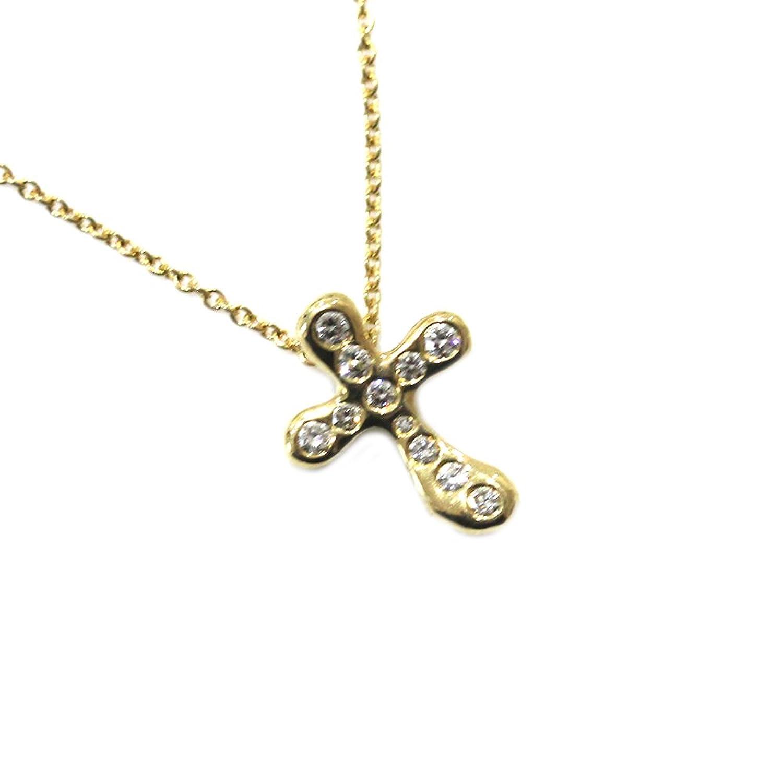 Tiffany&Co【ティファニー】 750 K18 ダイヤモンド クロス ネックレス ジュエリー ゴールド【新品仕上済み】【中古】 B072Z9YXB4