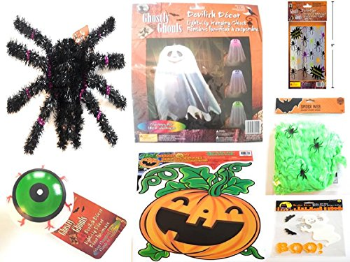 [Halloween Decor Bundle with Light-Up Hanging Ghost, Light-Up Eyeball, Glow in the Dark Pumpkin Cling, Huge Spider, Spider Web, Hanging Spiders, Ghost Gel Cling] (Halloween Decor Gets Too Real)