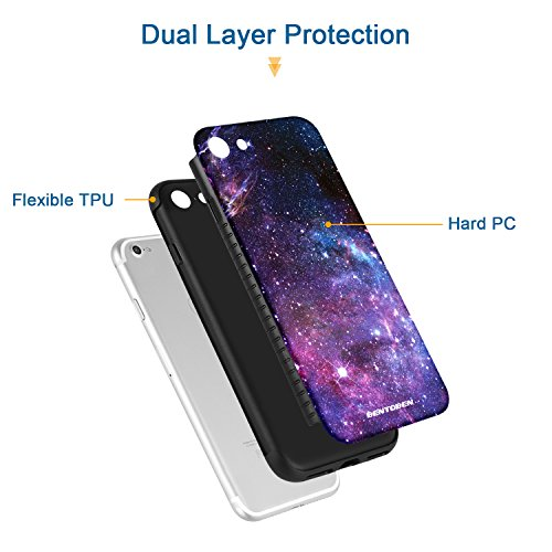 iPhone 8 Case, iPhone 7 Case, BENTOBEN Nebula Galaxy Ultra Slim Lightweight Hard Plastic Shell Soft TPU Hybrid Dual Layer Anti-Scratch Protective Cover Case for iPhone 8/ iPhone 7, Purple Nebula Photo #4