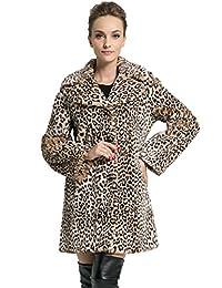Ovonzo Women's Middle Length Leopard Faux Fur Coat Brown