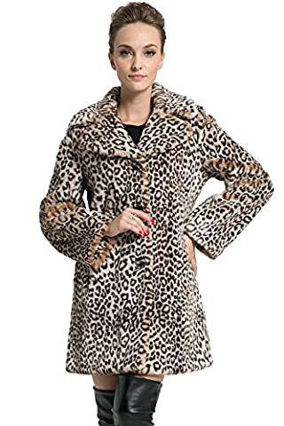 Ovonzo Women's New Style Middle Length Leopard Faux Fur Coat Brown Size XXL