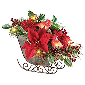 Lighted Sleigh Elegant Christmas Centerpiece Decoration with Cardinals, Poinsettias, Pinecones & Holly 10
