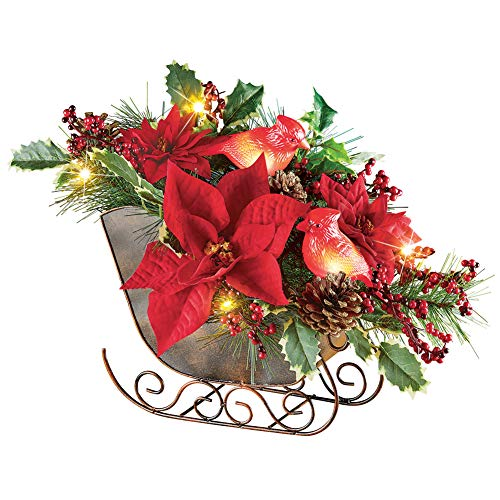 Lighted Sleigh Elegant Christmas Centerpiece Decoration with Cardinals, Poinsettias, Pinecones & Holly