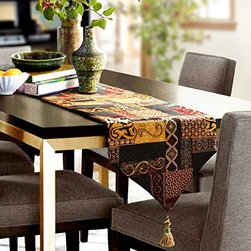 Artbisons Table Runner Gold Illusion 72x13 Thickly Fashion Handmade Tablerunner (Gold Yarn Bison)