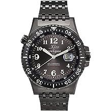 Xezo Air Commando Japanese-Automatic Diver's Pilots Gun-Metal Watch D45-G. 2nd Time Zone. 300 M WR