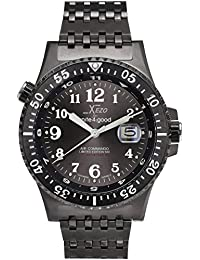 Air Commando Japanese-Automatic Diver's Pilots Gun-Metal Watch. Ruthenium Sunburst Dial. 2nd Time Zone. 300 M WR