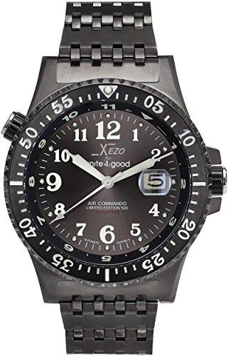 Luminova Markers (Xezo Air Commando Japanese-Automatic Diver's Pilots Gun-Metal Watch. Ruthenium Sunburst Dial. 2nd Time Zone. 300 M WR)