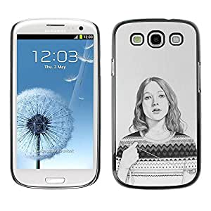 PC/Aluminum Funda Carcasa protectora para Samsung Galaxy S3 I9300 Sweater Pencil Drawing Portrait / JUSTGO PHONE PROTECTOR