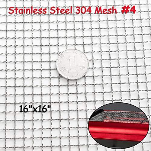 ess Steel 304 Mesh #4 .047 Wire Cloth Screen Filter 16''x16'' 40cm x 40cm ()