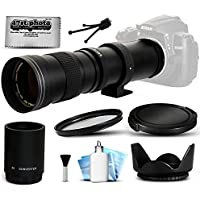 Opteka 420-1600mm f/8.3 HD Telephoto Zoom Lens Bundle Package includes 2X Teleconverter + UV Ultra Violet Filter + Snap On Lens Cap + Tulip Hood + Cap Keeper + Lens Cleaning Kit for Nikon DF, D2X, D2Xs, D3, D3s, D3x, D4, D4s, D40, D40x, D60, D80, D90, D300, D700, D300s, D600, D610, D750, D800, D800e, D810, D3000, D3100, D3200, D3300, D5000, D5100, D5200, D5300, D7000, D7100 DSLR SLR Digital Camera