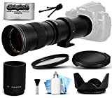 Opteka 420-1600mm f/8.3 HD Telephoto Zoom Lens Bundle Package includes 2X Teleconverter + UV Ultra Violet Filter + Snap On Lens Cap + Tulip Hood + Cap Keeper + Lens Cleaning Kit for Canon EOS 5D Mark II III 2 3 5DM2 5DM3, 1D Mark 3 4 III IV 1Dx 1D X, Rebel SL1, T2i, T3, T3i, T4i, T5, T5i, 6D, 7D, 60D, 60Da, 70D, 100D, 550D, 600D, 650D, 700D, 1100D, 1200D, Kiss X4, X5, X6i, X7i, X50, X70 DSLR SLR Digital Camera