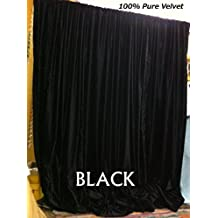 Black Velvet Curtains, 108 in W by 108 in H (ONE PANEL) Vinatge Velvet Curtain, Absolute Blackout, Sound proof, Window Curtains for Bedroom, Living-room, Home Theater, Hall