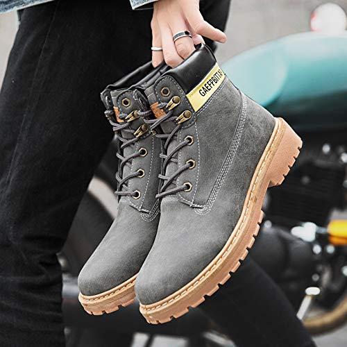 LOVDRAM Stiefel Männer Winter Männer Martin Stiefel Warme Werkzeug Stiefel Rutschfeste Lederstiefel Mode Lässig Männer Schuhe