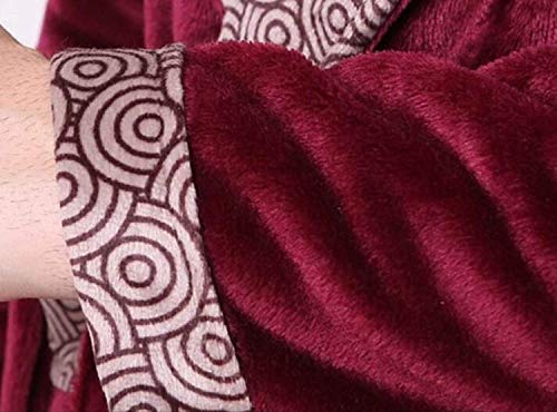 Cálida Manga Para Interior De Moda Larga Pijama Cuello Franela Invierno Baño Hombre Casa E Bata Espesa Pink Ropa V Otoño Servicio d1qXw1O