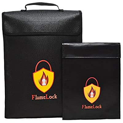 Fireproof Document Bag | Large & Small Fireproof Bag Set Safe Storage for Money, Files, Jewelry, and Other Valuables - Waterproof Dual Layer Non-Itchy Silicone Coated Fiberglass