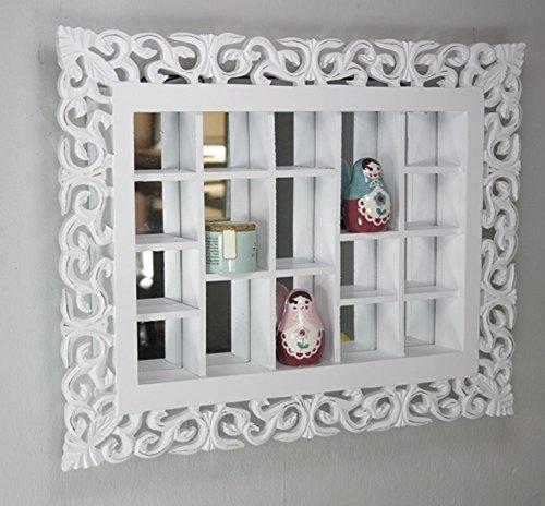 Gitter-Spiegel antik weiß, Landhaus Wandspiegel Setzkasten Regal, handgefertigte Verzierungen, Sammlervitrine aus Holz