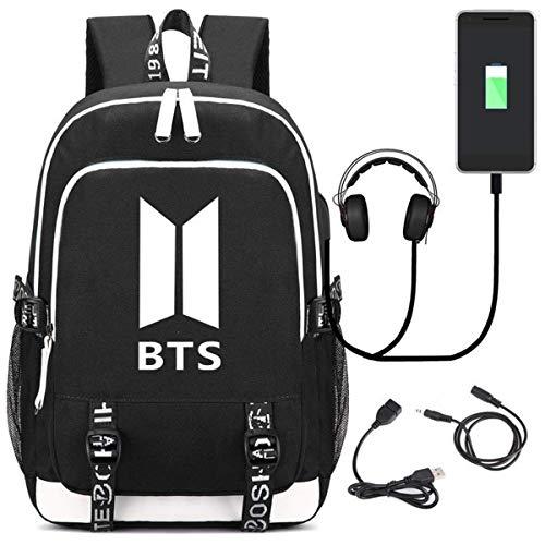 Fashion BTS School Bag Daypack Laptop Korean Casual Backpack Bookbag with USB Charging Port Blue2 Black