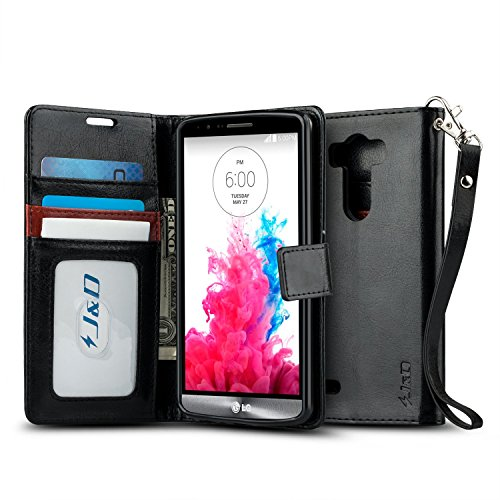 LG G3 Case, J&D [Stand View] LG G3 Wallet Case [Slim Fit] [Stand Feature] Premium Protective Case Wallet Leather Case for LG G3 (Black)