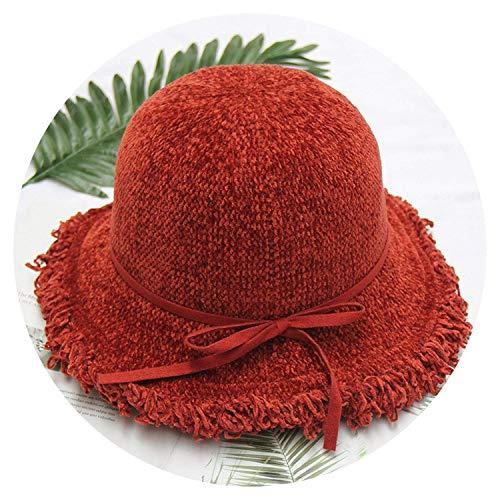 ExpertS Hats Solid Bow Bucket Hat Tassel Wide Brim Fisherman Caps Knitted Warm - Knicks Tattoo New York