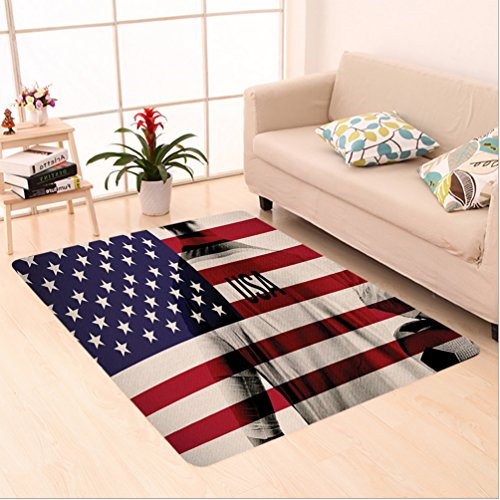 Nalahome Custom carpet osite Double Exposure Image of A Soccer Player and American Flag National Usa Run Beige Blue Red area rugs for Living Dining Room Bedroom Hallway Office Carpet (5' X 7') by Nalahome