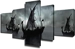 Pirate Ship Pictures Wall Decor Fantasy Seascape Painting Premium Quality Artwork Giclee Multi Panel Prints on Canvas Boat Wall Art Modern House Decor Framed Gallery-Wrapped Ready to Hang(50''Wx24''H)