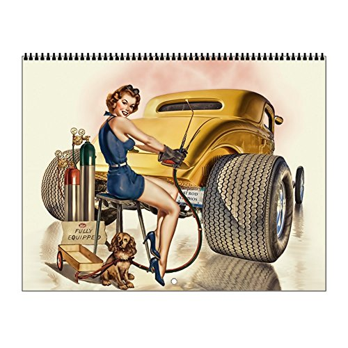 CafePress - Retro Pinups Hot Rod Wall Calendar - 2017 Wall Calendar, Quality High-Gloss Paper