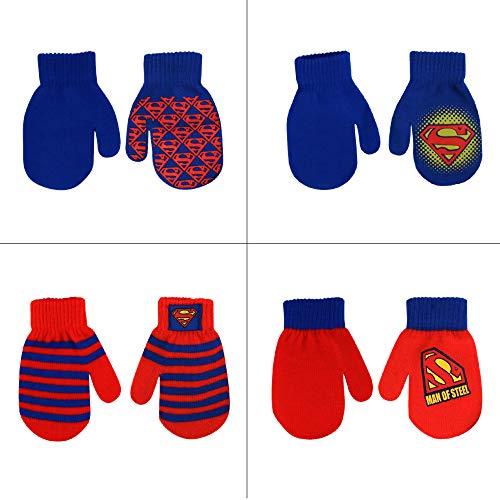 DC Comics Assorted Superhero Designs 4 Pair Acrylic Mittens Set, Toddler Boys, Age 2-4 (Superman Design - 4 Pair Mittens Set)