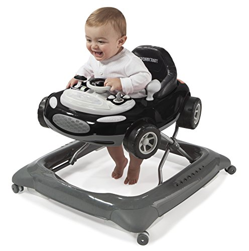 Storkcraft Mini-Speedster Activity Walker Black Interactive Walker with Realistic Driving Experience, Adjustable Seat Pad, Folds for Easy Storage