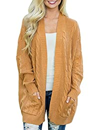 Simplee Plus Women's Chunky Long Sleeve Pocket Knit Open Casual Sweater Cardigan