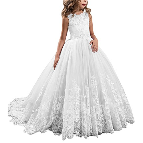 KSDN White Wedding Flower Girls Dress Lace Tulle Communion Pageant Gown with Bow (US 14, White)]()