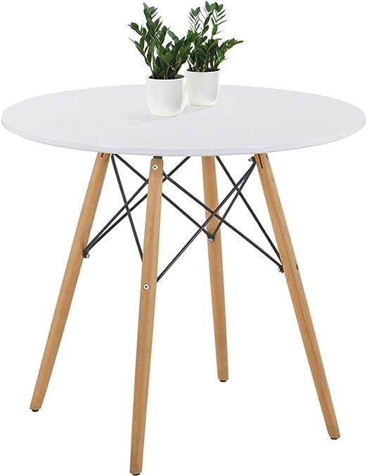GOLDFAN Eiffel Table Salle à Manger Ronde avec Jambes Bois Table Basse avec  Support en Métal pour Salon, Design Scandinave Moderne, Blanche
