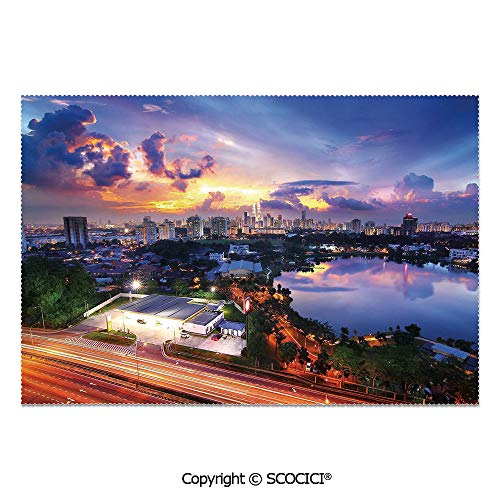 SCOCICI Place Mats Set of 6 Personalized Printed Non-Slip Table Mats Kuala Lumpur Skyline at Sunset Malaysia Landmark Dramatic Dusk Evening Clouds for Dining Room Kitchen Table Decor -