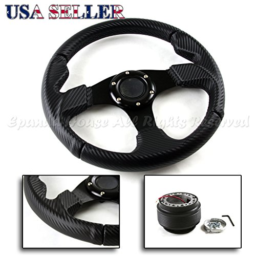 87-95 Toyota Pickup USA 320mm Carbon Fiber Pattern Grip Steering Wheel + Hub (05 Toyota Mr2 Carbon Fiber)