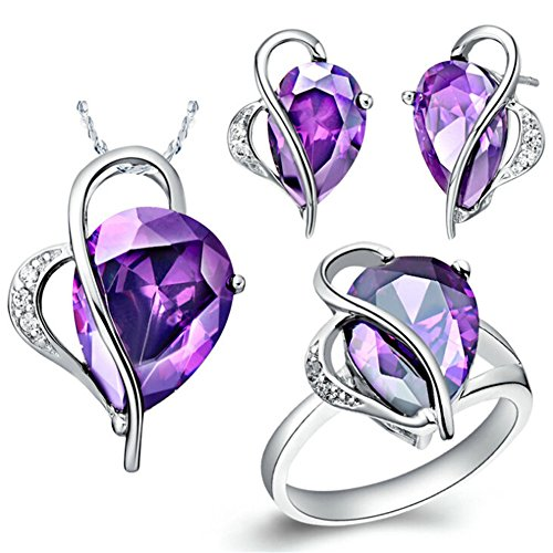 Babao-Jewelry-Purple-Drop-Heart-18K-Platinum-Plated-Cubic-Zirconia-Crystals-Pendant-Necklace-Earrings-Jewelry-Set
