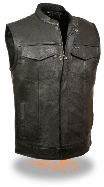 SOA Men's Basic Cowhide Leather Motorcycle Vest w/ 2 Inside Gun Pockets & Single Panel Back (XXX-Large)