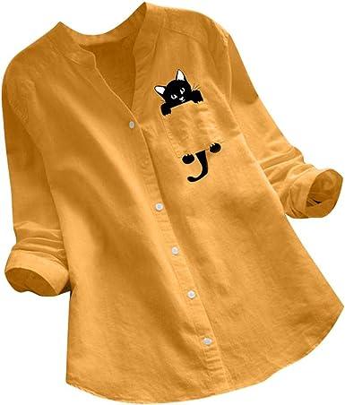 beautyjourney Camisa Casual de Manga Larga para Mujer Camiseta Túnica de Algodón y Lino Camisas Casuales con Botón Blusa con Cuello de Pico y Estampado de Gato: Amazon.es: Ropa y accesorios