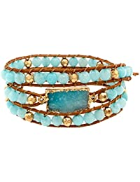Genine Stone with Druzy Leather Wrap Bracelet
