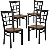 Flash Furniture 4 Pk. HERCULES Series Black Window Back Metal Restaurant Chair - Cherry Wood Seat