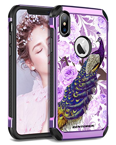 iPhone Xs Case, iPhone X Case, Dual Layer Hybrid Heavy Duty Shockproof Rugged Bumper Protective Phone Case Pretty Peacock Pattern Girls Women Case Cover for iPhone Xs/X /10 (5.8 Inch)