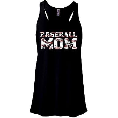 ee901eacbdee9 Zoey s Attic Baseball Mom Distressed Baseball Tank Top - Black (Small)