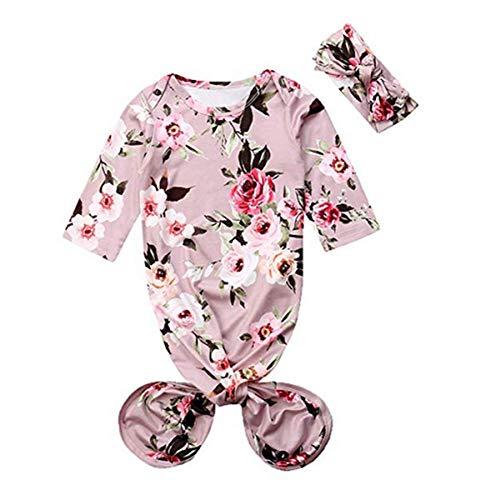 Newborn Baby Girls Sleepy Floral Print Mermaid Tail Gown Headband Outfit Kids Sleepwear Romper Sleeping Bags (70, Gray) ()