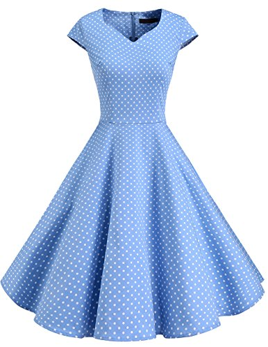 DRESSTELLS Retro 1950s Solid Color Cocktail Dresses Vintage Swing Dress With Cap-Sleeves Blue Small White Dot 4XL