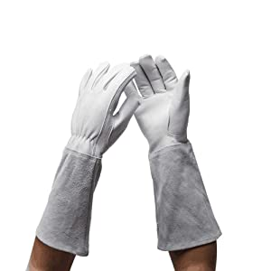 Professional Long Gardening Gloves Women Rose Pruning Gloves, Goatskin Leather Thorn Proof Garden Gloves with Long Cowhide Gauntlet for Flower Planting, Pruning YLST11 (L:16.5inch, grey white)