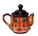 Purpledip Ceramic Kettle 'Go Go Goa': Artisan Handmade Glazed Teapot For Serving Tea or Coffee In Style (10528), 500 ml